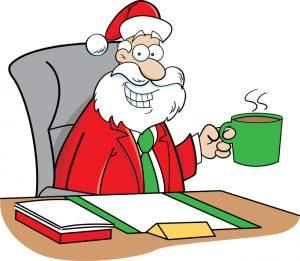 santa and coffee